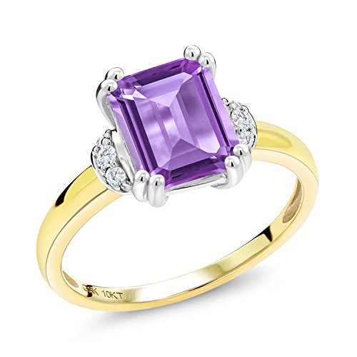 - 2.12 Ct Octagon Purple Amethyst Diamond Accent 10K Two Tone Gold Ring (Size 7)