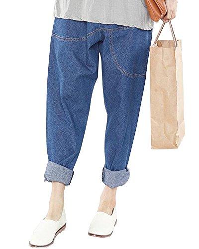 ZongSenA Sarouel Femme Jean Pantalon Large Palazzo Taille lastique Pantacourt Bleu