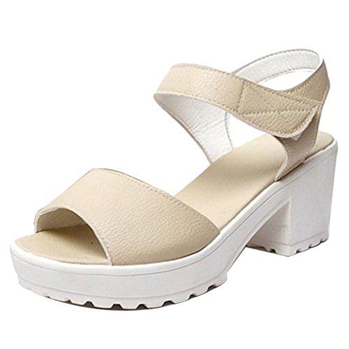 COOLCEPT Damen Sommer Chunky Heels Sandalen Schuhe Beige