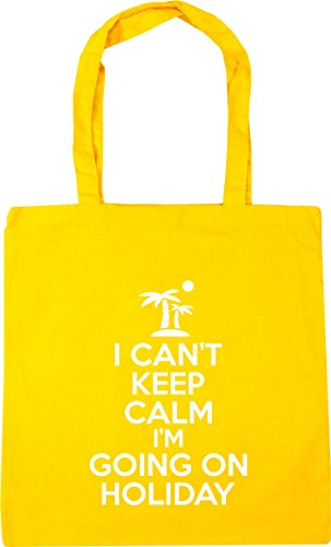 HippoWarehouse I can't keep calm i'm going on holiday Tote Shopping Gym Beach Bag 42cm x38cm, 10 litres Yellow