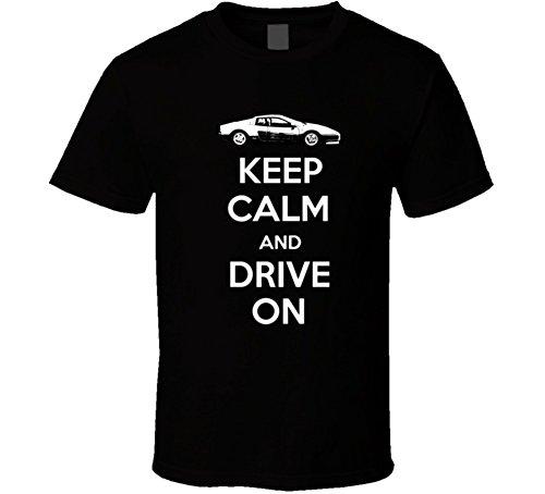 1984 Ferrari (1984 Ferrari Testarossa 5 0l Boxer B and W Keep Calm and Drive on Car Lover T Shirt S Black)
