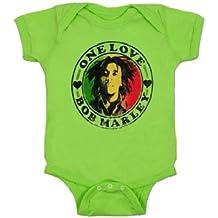 Bob Marley 'One Love' Lime Green Unisex Baby Romper