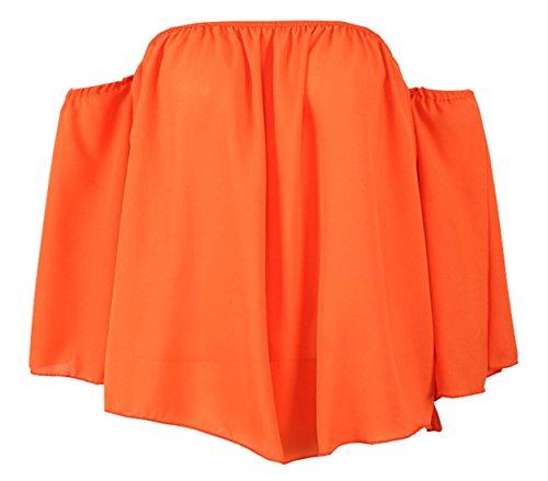 Chemisier T Femme en Vrac Blouses Plier paule Longues Denudee Tops Fashions Haut Couleur Manches Orange Tops Unie JackenLOVE Casual Shirt t vwxCEIqq7