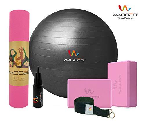 Wacces Yoga Set Starter Kit 6 Pieces Equipment, 1 TPE Yoga Exercise Mat, 1 Yoga Ball with Hand Pump, 1 Yoga Strap, 2 Yoga Blocks, (Pink & - Black Starter Mat