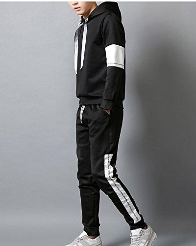 Survêtement Ensemble Pièces Casual Pantalons Capuche Homme 2 Noir À Slim Sweat Jogging pUwnnxqE4A