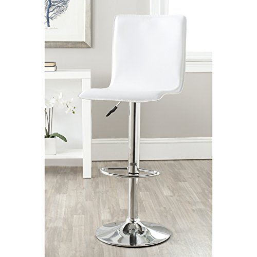 Safavieh Home Collection Magda White Adjustable Swivel Gas Lift 23.2-29.5-inch Bar Stool