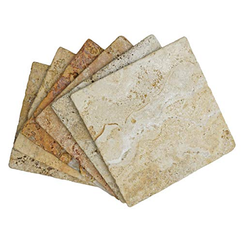 Stella Drink Coasters 6pc (Scabos Travertine) Premium Absorbent Natural Stone ()