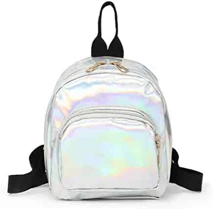 7217126f2a Kinrui Girls School Bag School Backpack Holographic Laser PU Leather School  Bookbag Travel Casual Daypack (