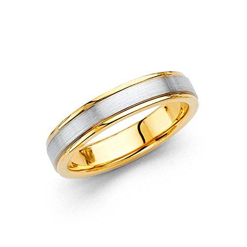 Wedding Ring Solid 14k Yellow White Gold Plain Band Two Tone Satin Finish Polished Mens Womens 4 mm Size 7 (Satin Band Plain)