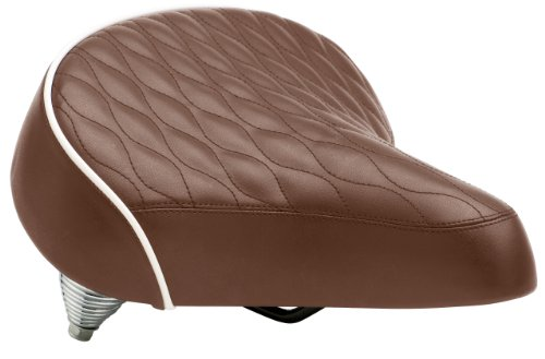 Schwinn Quilted Springer Cruiser Saddle Seat, Brown (White Bike Seat)