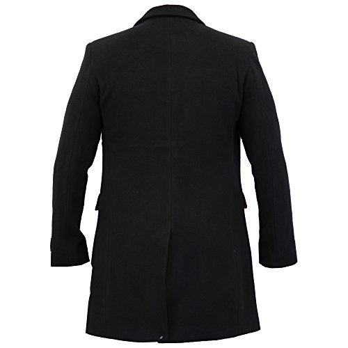 Nuovo Trench Cappotto Fit Lana Woolg11 Caldo Foderato Giacca Slim Invernale Nero Cashmere Uomo nYqvgwwa