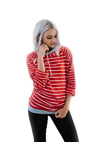 - JaceyLane - Sweatshirt - Red Stripe/Grey Band - Medium