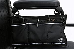 Pembrook Wheelchair Side Bag - Great Accessory for your mobility devices. Fits most Scooters, Walkers, Rollators - Manual, Powered or Electric Wheelchairs by Pembrook