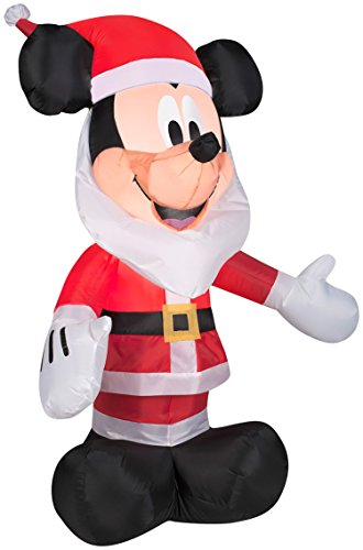 (Gemmy Inflatables 3.5' Mickey Mouse with Santa Beard Disney Holiday Decor)