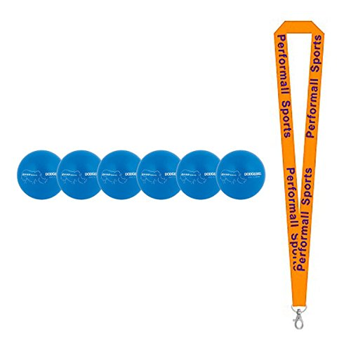 Champion Sports Rhino Skin Neon Dodgeball Set Neon Blue (Set of 6) Bundle with 1 Performall Lanyard RXD6NBLSET-1P by Champion Sports