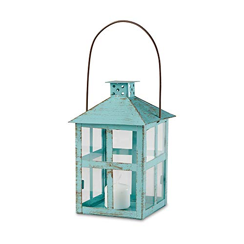 Kate Aspen 14135BL Vintage Blue Distressed Large Rustic Lantern Candle Holder (Lantern Holders Candle Tall)