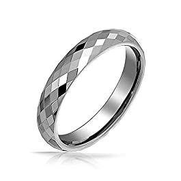 Bling Jewelry Couples Multi Faceted Cut Titanium Wedding Band Rings for Men for Women Silver Tone Comfort Fit 4MM