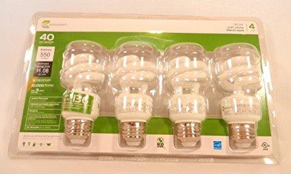 White Compact Fluorescent (CFL) Light Bulbs 4-Pack, 40 Watt Equivalent, 550 Lumens (White Compact Fluorescent Bulb)