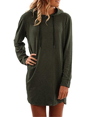 SUNNYME Women's Long Sleeve Pullover Drawstring Sweatshirt Casual Midi Hoodie Dress Army Green 2XL
