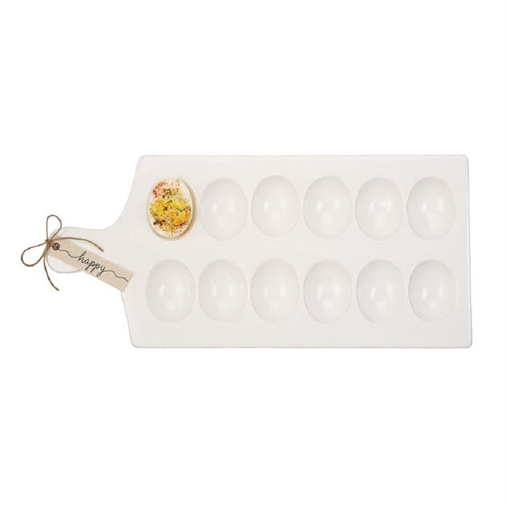 Mud Pie 40700083 Deviled Egg Tray 15.25'' x 7'' White, Brown, Black