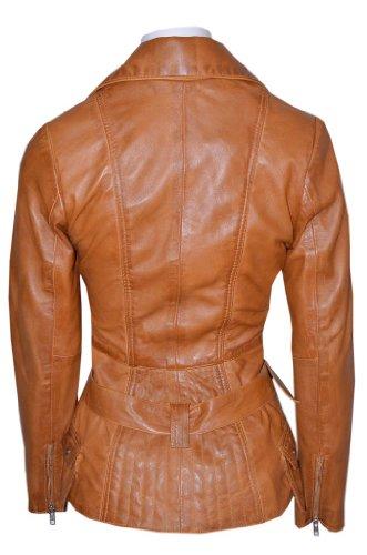 Smart Range - Feminine Lavé Rétro Vintage Biker Style Designer Réel Cuir Veste - Femme - Taille : 10 - Couleur : Tan