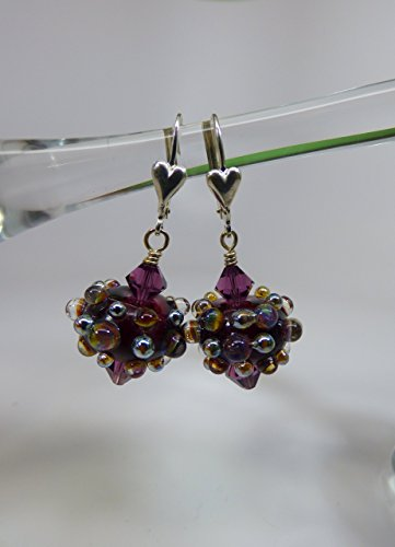 Artisan Lampwork Purple with Metallic Bumpie Bead Earrings with Swarovski Crystal Accents and Sterling Silver Leverback Ear (Lampwork Crystal Sterling Earrings)