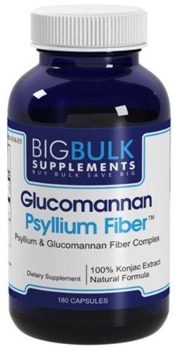 Fibre Glucomannan fibres de psyllium alimentaire de la masse Racine de Konjac Perte Poids soutien Big suplements Clucomannan Psyllium Fiber 800mg 180 Capsules 1 Bouteille