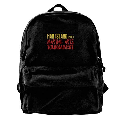 MIJUGGH Canvas Backpack Enter The Dragon Ham Island Martial Arts Tournament Rucksack Gym Hiking Laptop Shoulder Bag Daypack for Men Women