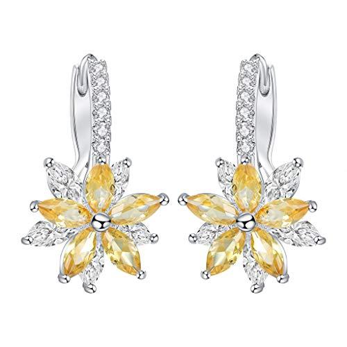 (Wenini Flower Shaped Earrings, Lovely Romantic Flower Stone Shape Simple Cubic Copper Earrings Jewelry for Women and Girls (Yellow))
