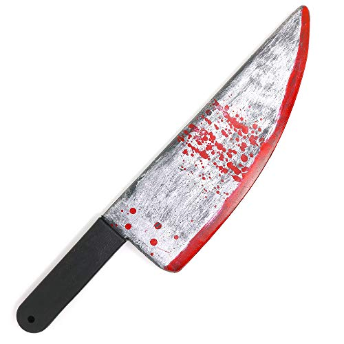 "(Skeleteen Large Bloody Knife – 19"" Long, Realistic Looking Prank Toy, Fake Plastic Blade with Blood Stains - Costume Prop or Gag Blade for Halloween Haunted House, April)"