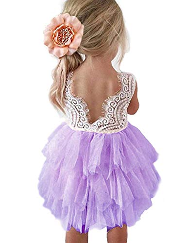 Baby Toddle Girls Tutu Dress Short Sleeves Stripe Tulle Skirts Mini Dress (White Purple, 12-18 Months)