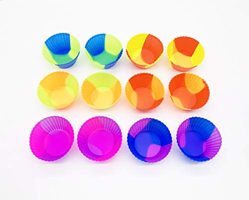 (Silicone Cupcake Baking Cups, Dual Color Non Stick Silicone Baking Molds For Muffin Pan, Pack of 12)