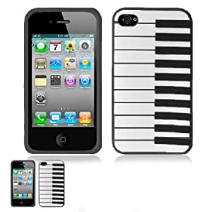 iPhone 4 4S Black 3D Piano Soft Rubber Silicone Skin Case