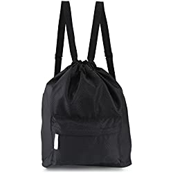 Zmart Dry Wet Separated Swimming Bag Portable Drawstring Backpack Waterproof Gym Sports Pool Beach Gear Bagpack for Men Women Boys and Girls - Black