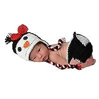 Pinbo Newborn Baby Girls Photography Prop Crochet Knitted Penguin Hat Diaper