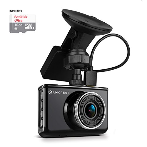 (Amcrest Full-HD 1080p Dash Camera with GPS Bracket, Black)