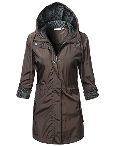 Hooded Boulder Cloth Jacket (Water Resistant Lightweight Snap Buttoned Long Rain Jackets,  Large,  117 - Olive, 117 - Olive, Large )