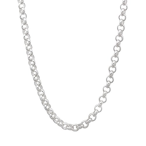 Solid Sterling Silver Cable Chain (3.5mm Solid 925 Sterling Silver Rolo Cable Link Italian Crafted Chain,)