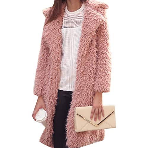 Goyfeelip Fausse Fourrure Long Manteau Femmes Hiver Plus Taille Revers Cardigan Fleece Veste Outwear (Color : Pink, Size : S)