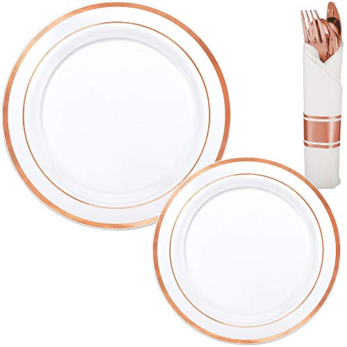 Party City White Rose Gold-Trimmed Premium Tableware Kit for 40 Guests, Includes Rolled Cutlery Sets -