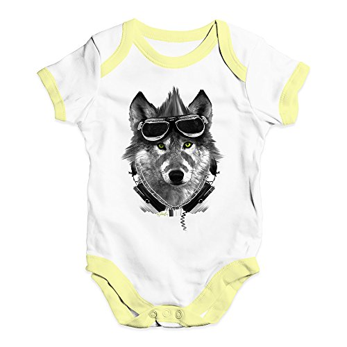 TWISTED ENVY Funny Baby Onesies Rave Wolf Baby Unisex Baby Grow Bodysuit 6-12 Months White Yellow Trim ()