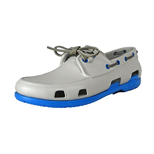 crocs Men's 14327 Beach Line Boat Shoe,Pearl White/Ocean,11 US