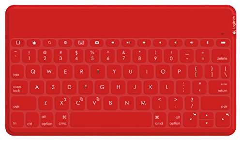 Logitech Wireless Keyboard | Keys-to-Go: Ultra Portable Bluetooth Keyboard for iPad, iPhone, Apple TV, Desktop and More (Red)
