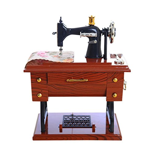 Musical Table Decor (Leegor Vintage Music Box Exquisite Mini Sewing Machine Style Mechanical Toy Birthday Gift Table Decor Desk Furnishing Ornaments)