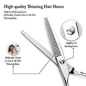 Znben Thinning Shears, Hair Scissors 440C Stainless Steel Thinning Scissors, Professional Barber Thinning Shears for Men Women Kids Pets, Hair Thinning Scissors, Trimming Scissors for Hair (Color: Nickel Thinning Scissors)