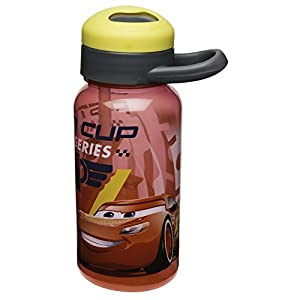 Zak Designs Zak! Designs Cars 3 Reusable Water Bottle with Flip Out Silicone Straw, BPA-free & Break Resistant, 14 oz., Decorated