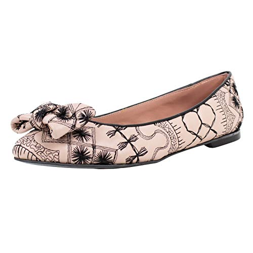 (Red Valentino Women's Valentino with Bow Leather Flats Shoes US 37 EU 7 Beige)