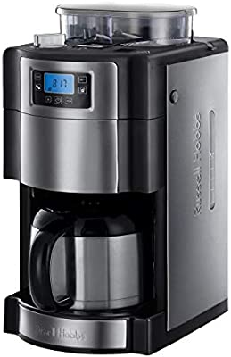 Russell Hobbs Grind & Brew - Cafetera de Goteo (Jarra Cafetera Térmica para 10 Tazas, 1000 W, Gris) - ref. 21430-56