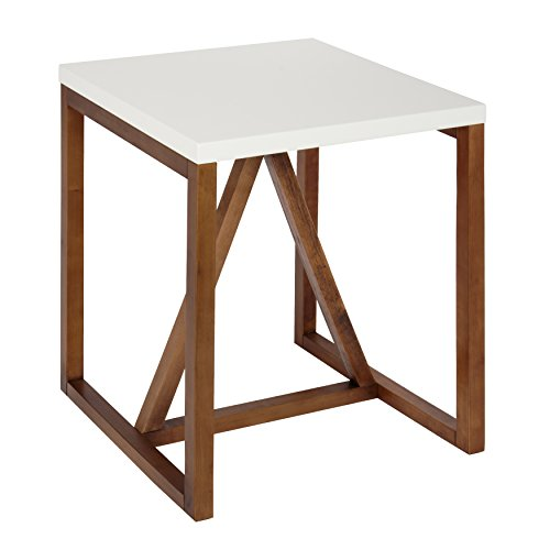 Kate and Laurel Kaya Square Wood Side Table, White Top with Walnut Brown Base
