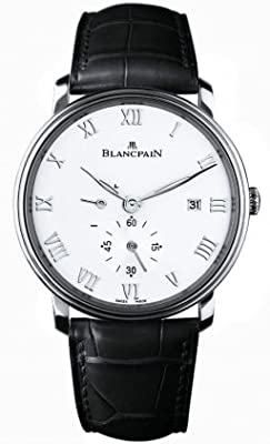 Blancpain Villeret White Dial Stainless Steel Black Leather Mens Watch 6606-1127-55B